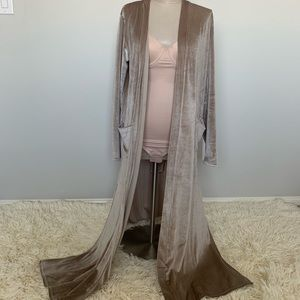 YOUNG, FAB, and BROKE pink velvet long cardigan